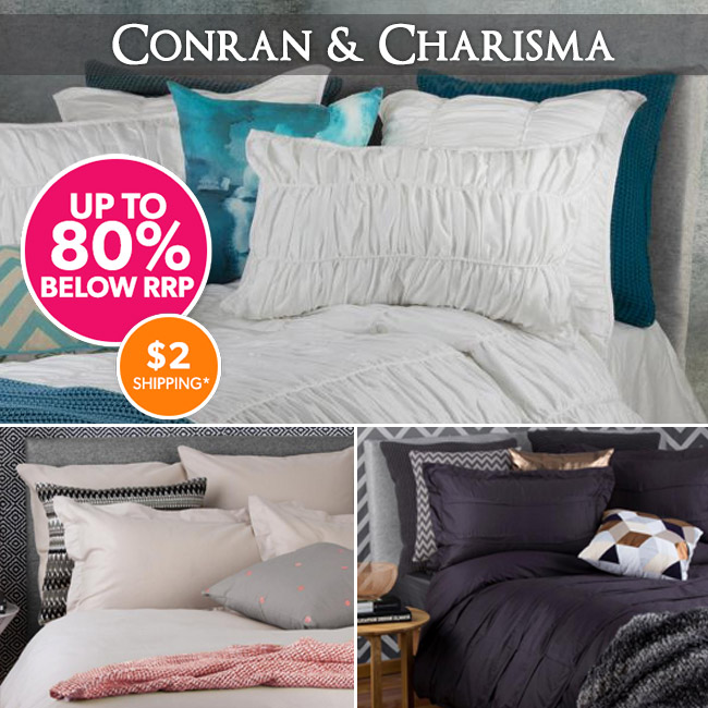 Save up to 80% off new conran mini waffle & charisma pillowcases & quilt covers from $12.95 + $2 shipping at DealsDirect.com.au